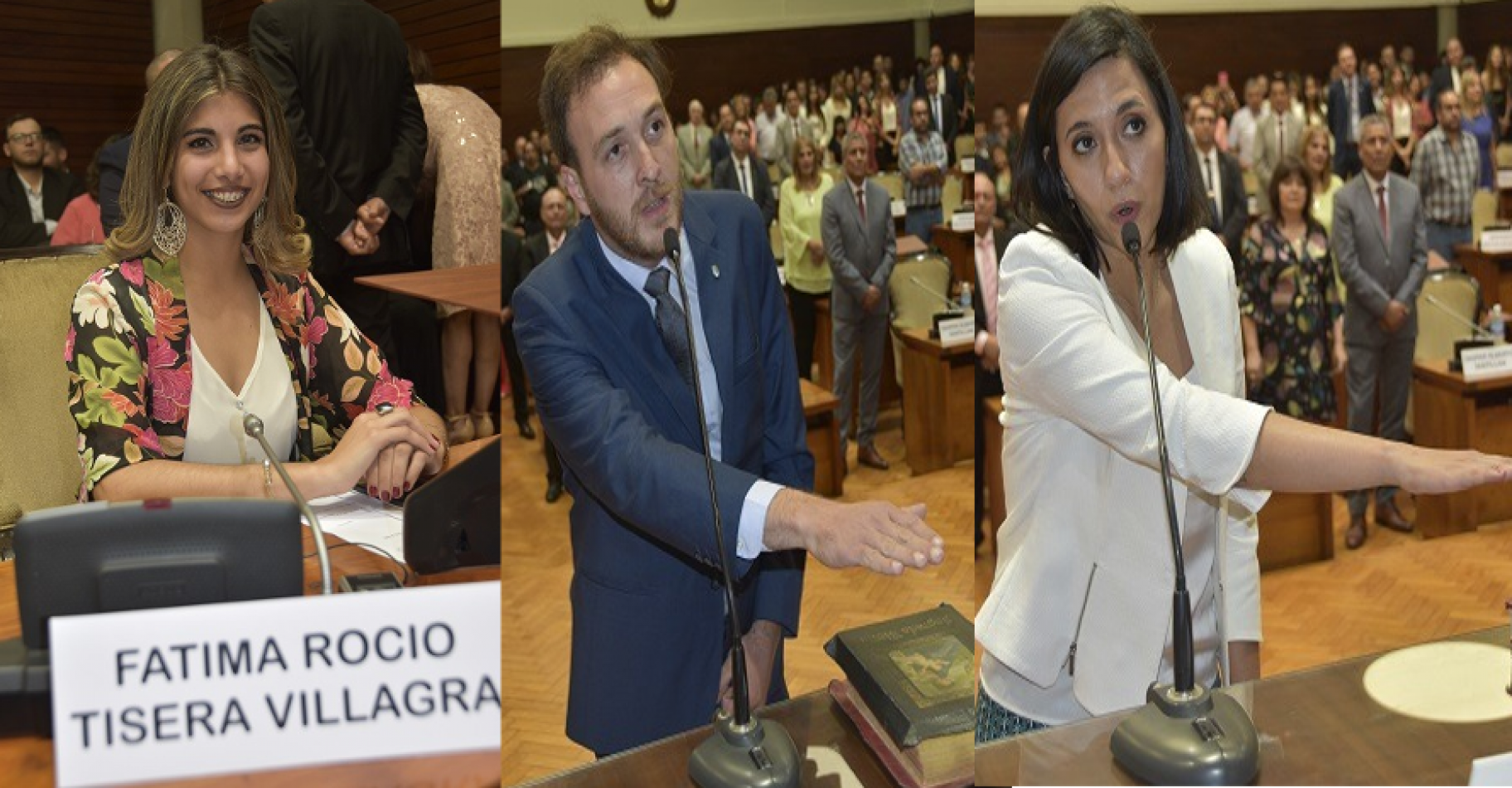De izquierda a derecha: Fátima Tisera, Emanuel Palmieri y Leila Chaher, legisladores que juraron por la militancia