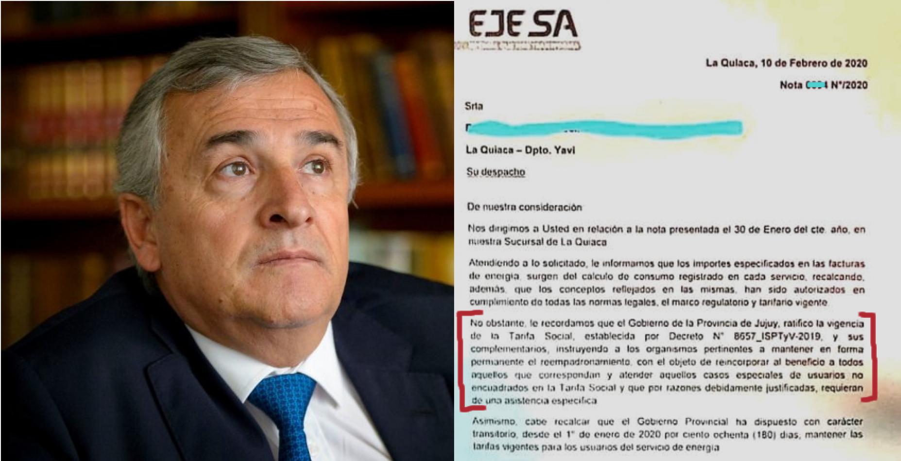 Tarifa Social: la excusa del gobierno de Morales y de EJESA para no retrotraer las tarifas