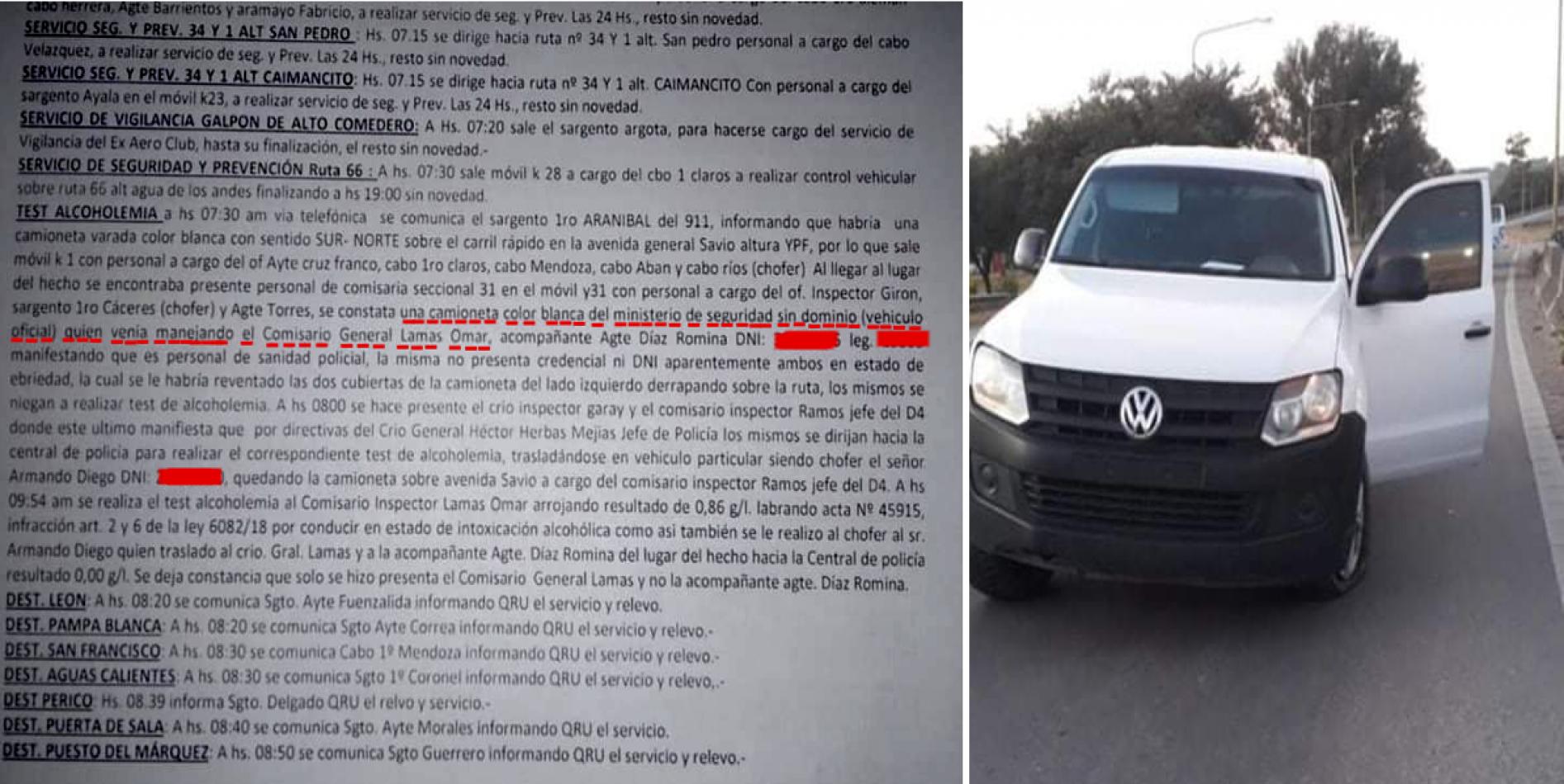 Director General de Seguridad provincial manejaba alcoholizado y se accidentó en camioneta oficial