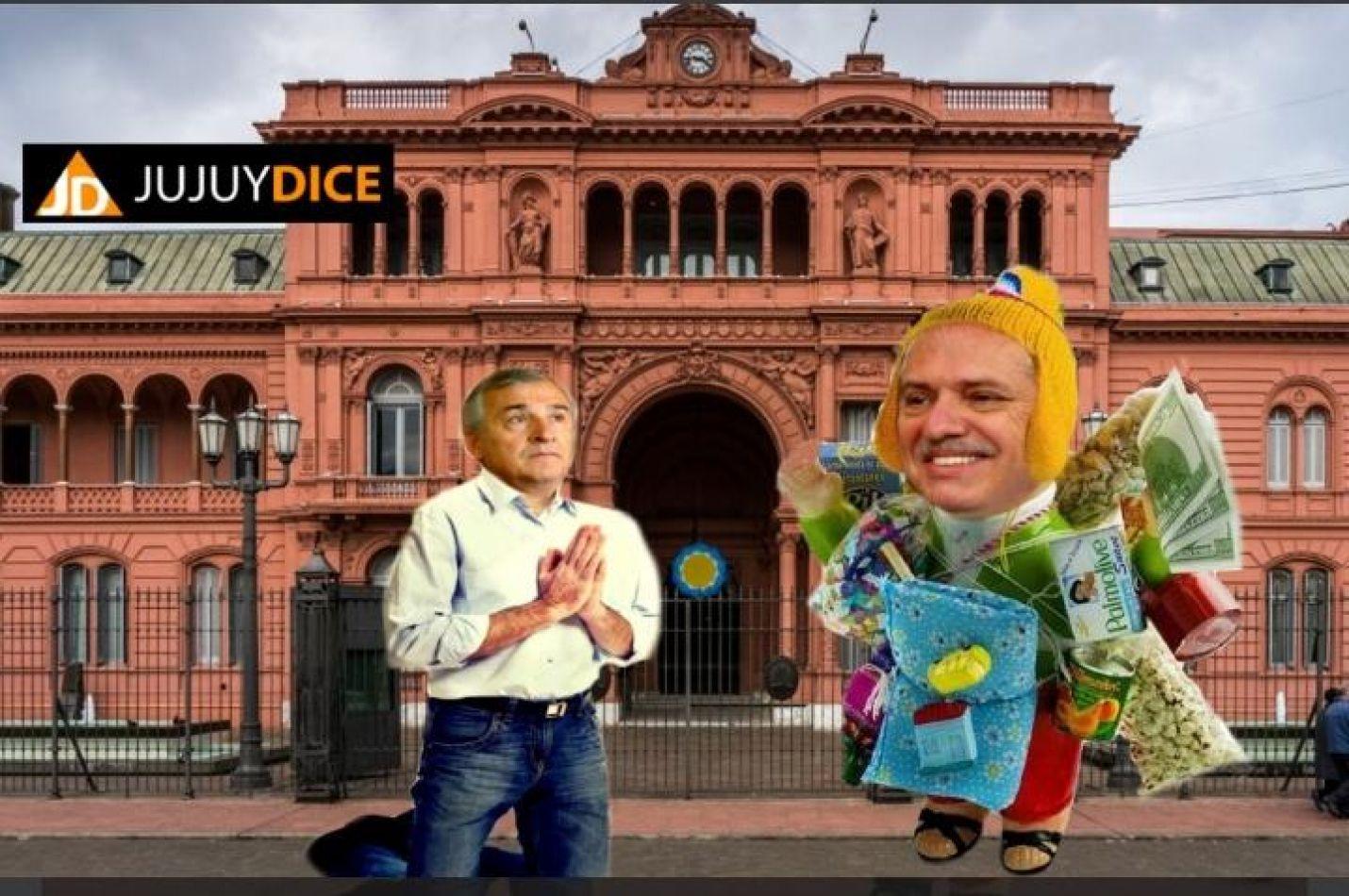 """Gerardo Morales y Alberto Fernández como un """"ekeko"""". Meme Jujuy Dice"""