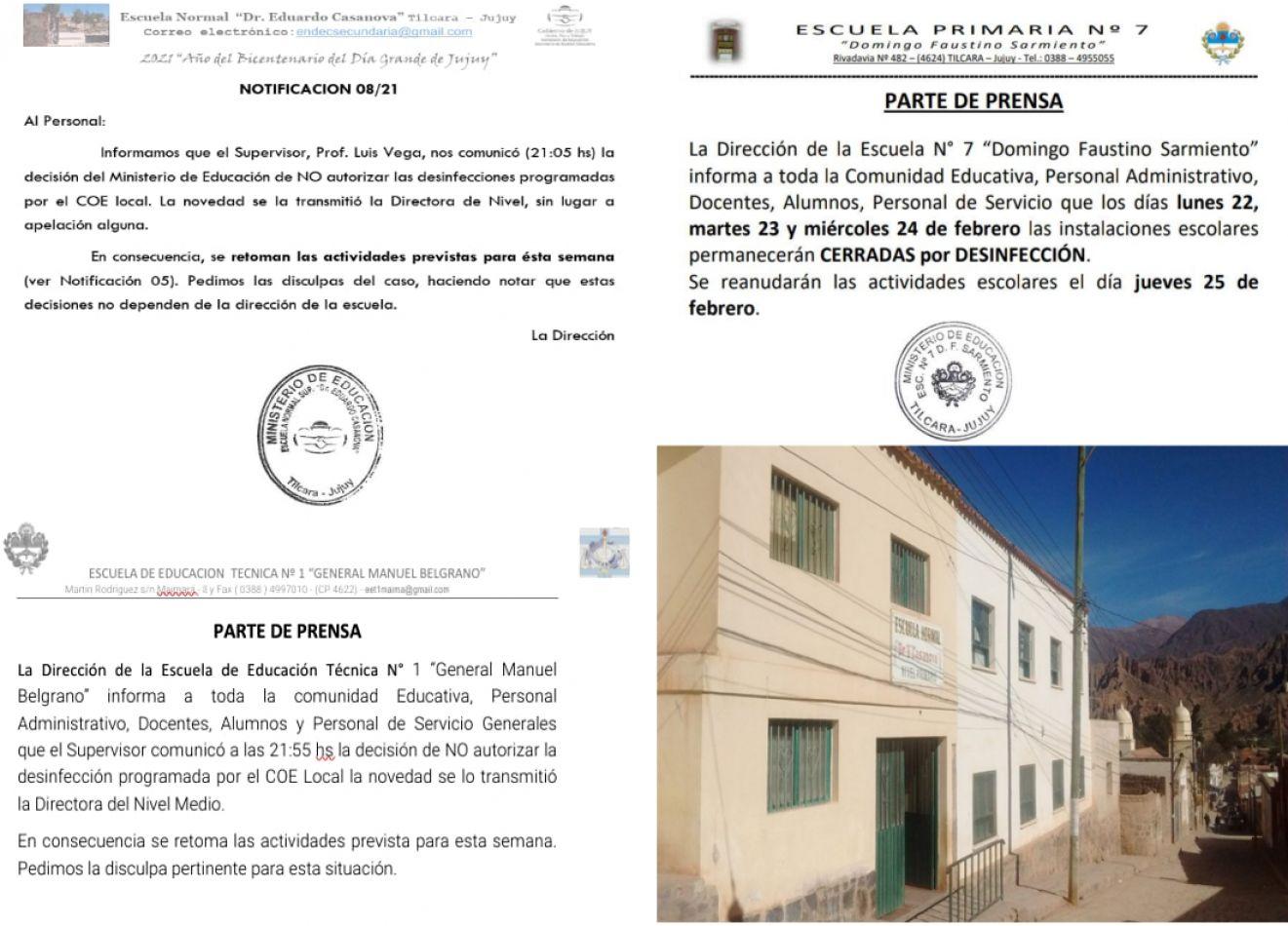 Pese a los casos de covid 19, el Ministerio de Educación impidió la desinfección de escuelas